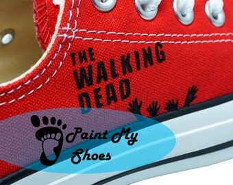 The Walking Dead, Carl, Converse, hand painted shoes, TWD, The walking dead shoes, free shipping in the US