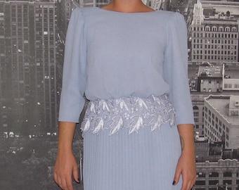3/4 Sleeve Periwinkle Tea Length Dress with Pleated Skirt