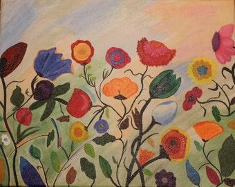 Floating field of multicolor flowers in a field