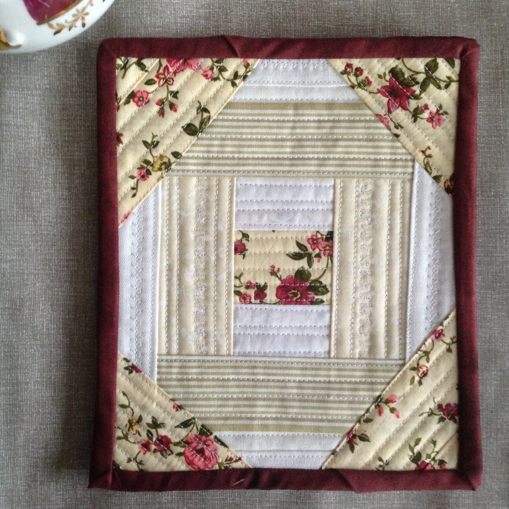 Floral Mug Rug Quilted Mug Rug Fabric Coaster By PrositoQuilts