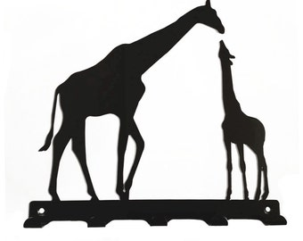 Mother and Baby Giraffe Silhouette Key Hook Rack - metal wall art