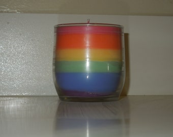 Rainbow Glass Candle