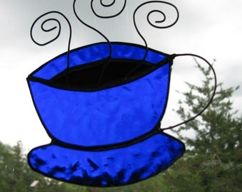 Stained Glass Coffee Cup Suncatcher