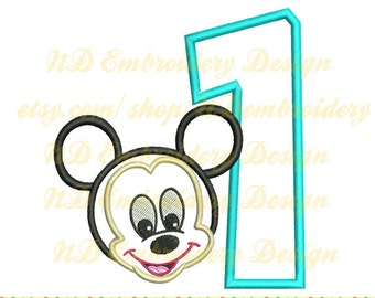 Mickey 1st birthday, Mr.  mouse Machine Embroidery Applique Design, first, select a number from 1-9, ms-019-1
