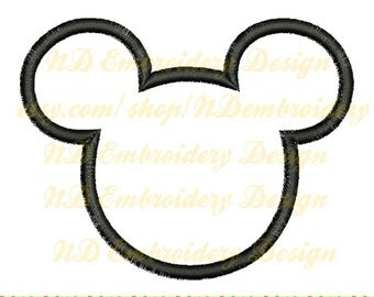 Mickey Mouse Head Applique Design, machine embroidery, digitize pattern, ms-037