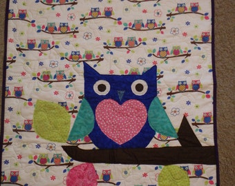 Baby Quilt for Girls, nursery decor, baby girl gift, owl quilt, baby girl gifts