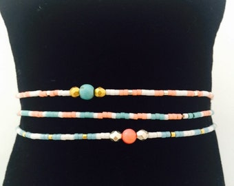 Chan Luu inspired friendship bracelets! Three delicate beaded bracelets, turquoise and coral mix.