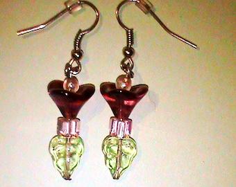 Glass Purple Lady Flower Dangle Earrings