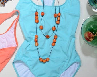 Luxury One Piece Swimsuit or Bodysuit in Aqua