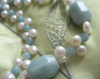 Amazonite and Cultured Pearl Necklace