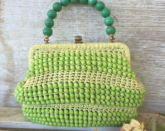 Madmen Inspired Vintage green beaded  straw handbag