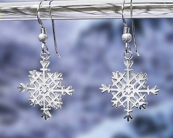 "Snowflake Earrings - Sterling Silver ""French Wires"" -  Item: S2"