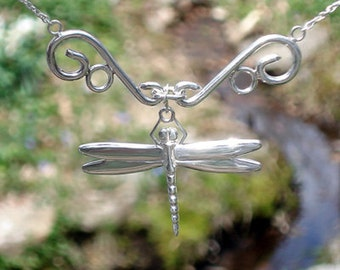 Dragonfly Bib Necklace - Sterling Silver Pendant on Sterling Silver Chain -  Item: D1C