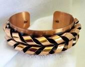 Renoir Mid-Century Modern Copper Bracelet: High Relief Braided Design