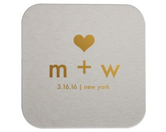 Initials and Heart Personalized Wedding Coasters