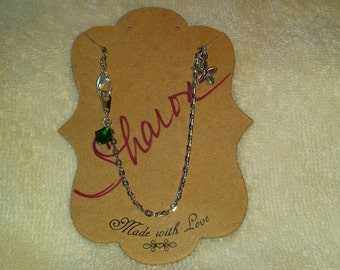 """10"""" Anklet with Flower Charm and Green Crystal"""