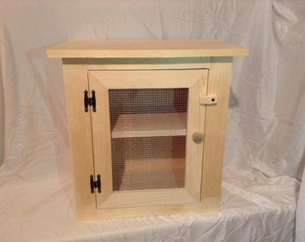 Primitive Pine Wood Counter Top Pie Safe