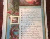 "Coloured landscape illustration vintage print with Hymn ""The roseate hues of early dawn"""