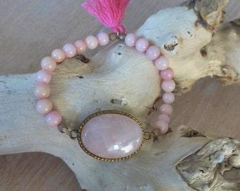 gemstone bracelet, pink braclet, roze quartz bracelet, tassel bracelet, boho style jewelry