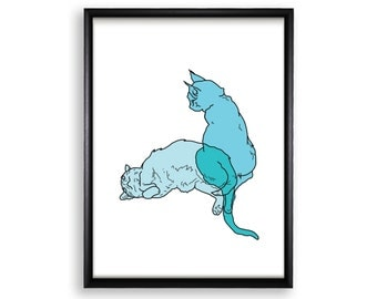 Printable Poster Wall Hanging - Schrödinger's Cat - 18x24 / 11x17 / 8.4x11 / 8x10 / 5x7 / 4x6