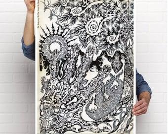 "24"" x 36"" Poster Print - The Evolution Man Within His Handz By:  Matthew Crispell"