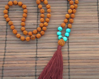 Rudraksha and Turquoise powder stone mala