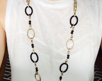 Black/Gold Loop Necklace