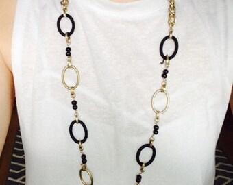 Black/Gold Loop Necklace