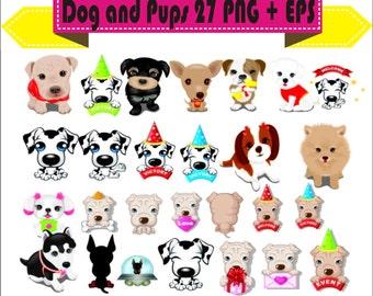 Dog Doggy Pups Puppy Pup Dogs Vector Clipart PNG EPS PSD Set Digital Files Transparent Scrapbook Supplies Clip Art Instant Download