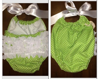 Green and White Polka Dotted Sun Suit 0-3 Months