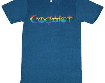 T136 - Rainbow Coexist Organic American Apparel T-shirt