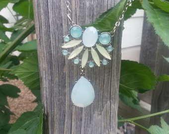 Blue, Teal and Light Green Floral necklace on Silver Chain