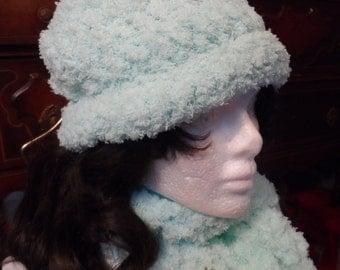 Sea Foam Green Soft Winter Crochet Beanie Hat and Scarf Set