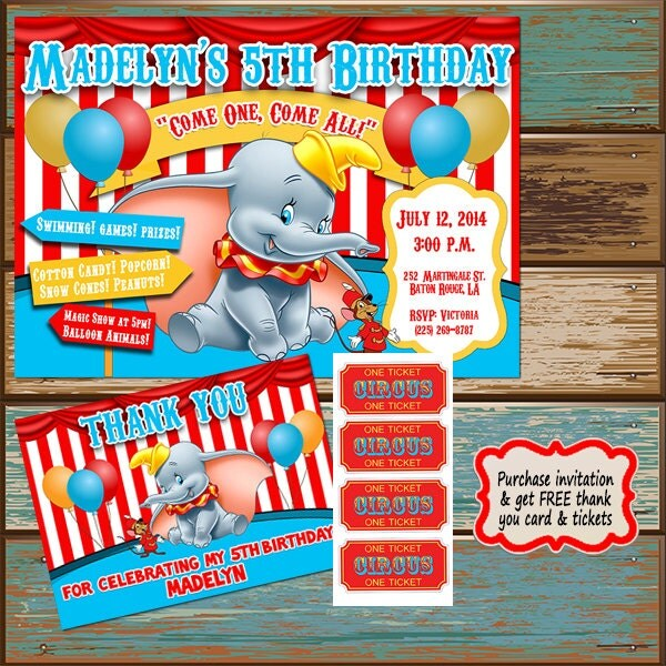 Dumbo Birthday Party Invitation First Birthday Birthday Baby
