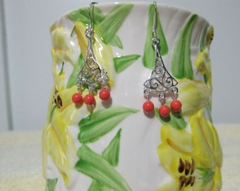 Sterling Silver Earrings With Coral Swarovski Pearls