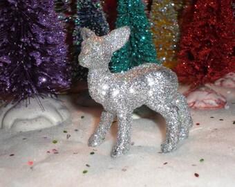 Miniature silver glittered doe/deer figurine