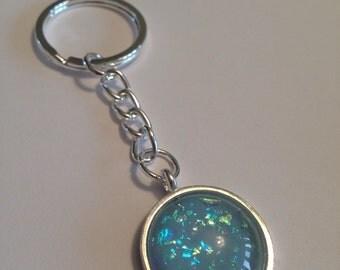Handmade blue flakies nail polish charm key ring/planner charm.