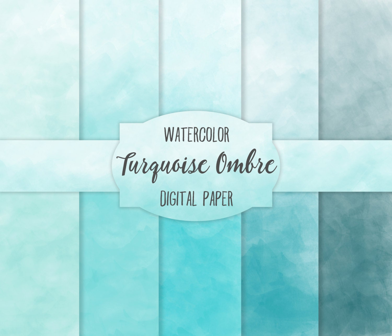 Turquoise Teal Ombre Watercolor Digital Paper set 5 Digital