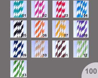 100 PAPER STRAWS - Pick Your Colors - Stripes - Wedding Birthday Baby Shower or BBQ Party