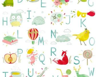 Displays illustrated ABC - ABC - child's room Decoration - birth gift - Illustration