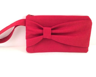Red Bow Wristlet