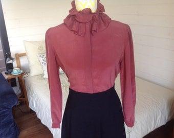 1970's 1980's silk dusty pink frill collar blouse top shirt