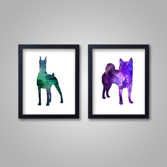 Any 2 8x10 Prints - Proceeds to Shelters - Dog Wall Art - Abstract Digital Animal Painting