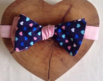 Reversible Mens Hearts Bow Tie / silk or linen