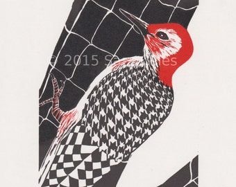 Houndstooth Woodpecker linocut reduction, limited edition, original art
