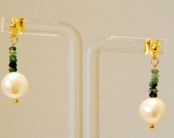 Emerald and Freshwater Pearls Earrings on Gold plated Sterling Silver