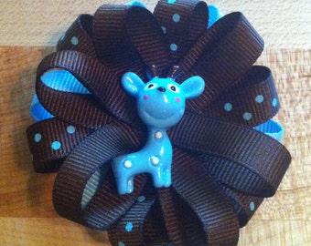 Blue Giraffe Loopy Hair Bow Clip