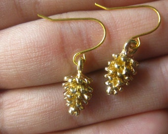 gold pinecone earrings Christmas gifts