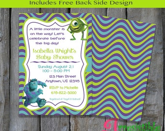 Monsters Inc. PRINTABLE Baby Shower Invitation - Monsters Shower Invite - Personalized Shower Invitation (S111)