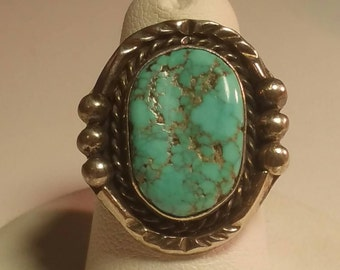 Turquoise Ring Squash Blossom Navajo Southwestern Sterling silver